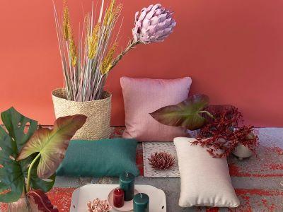 Single colour cushions for modern outdoor patio decor